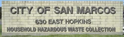 City of San Marcos HHW sign